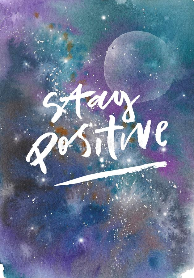 Raumgalaxienebelfleck-Stellenhintergrund des Aquarells bunter sternenklarer Positive Pinselstrichaufschrift des Aufenthalts stock abbildung