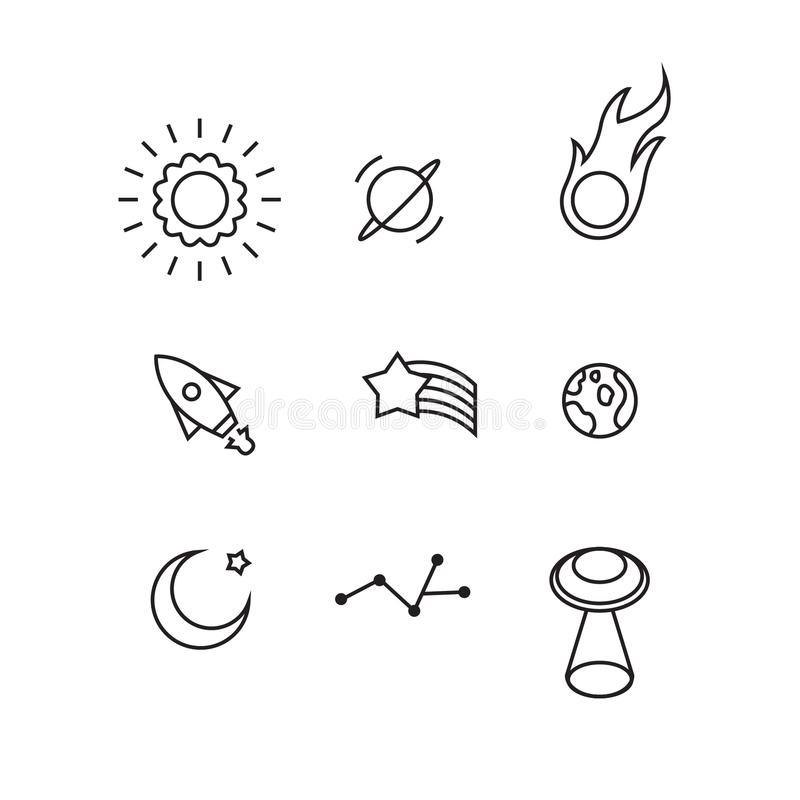 Raumgegenstand-Vektorikonen stellten für Ikone, Grafik oder Webdesign, weißer Hintergrund, Vektor ein stock abbildung