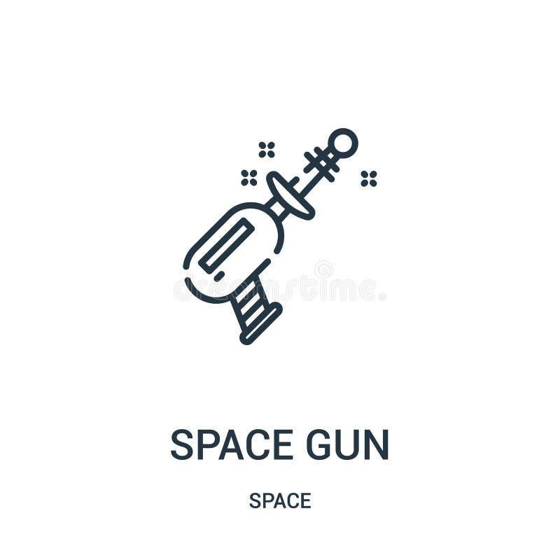 Raumgewehr-Ikonenvektor von der Raumsammlung Dünne Linie Raumgewehrentwurfsikonen-Vektorillustration stock abbildung