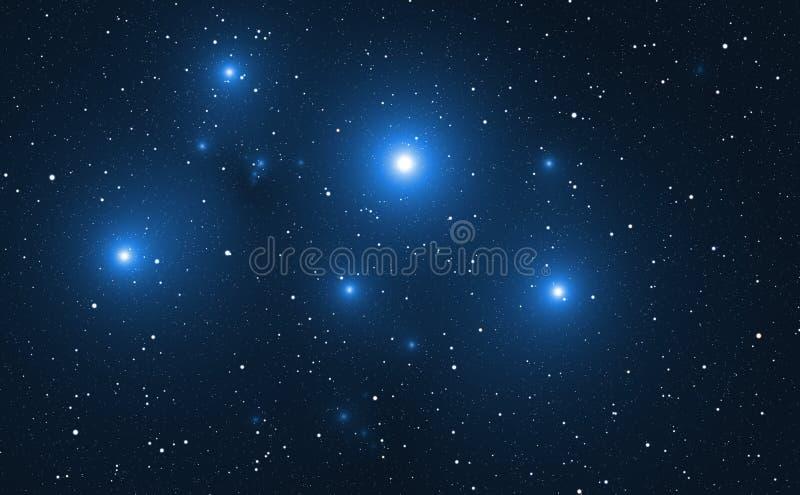 Raumhintergrund mit blauen hellen Sternen stock abbildung