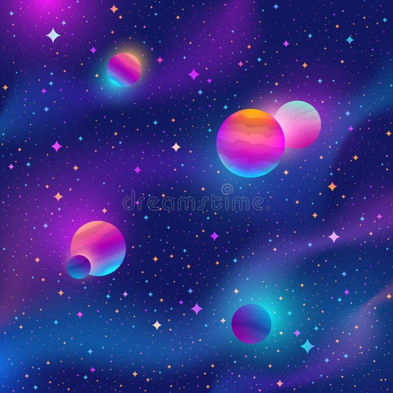 Raumhintergrund mit bunten Sternen und Planeten lizenzfreie abbildung