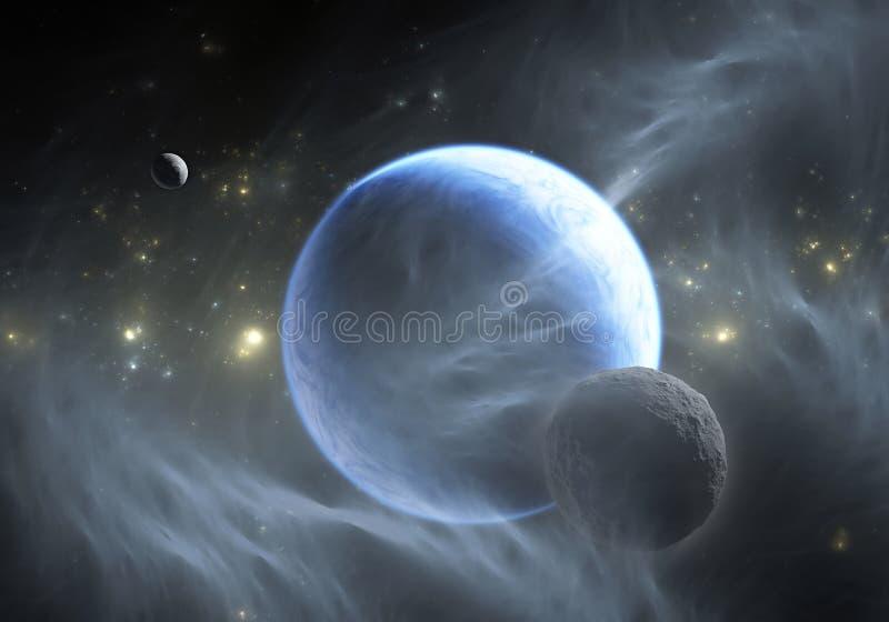 Raumhintergrund mit Exoplanet lizenzfreie abbildung