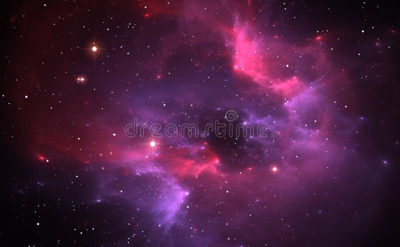 Raumhintergrund mit purpurrotem Nebelfleck und Sternen stock abbildung