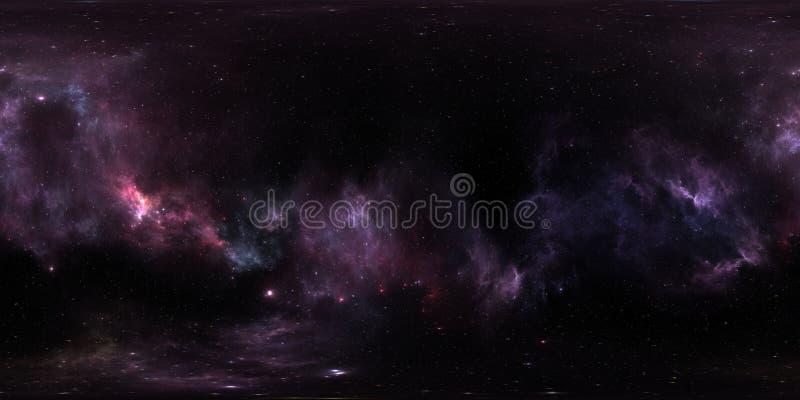 Raumhintergrund mit purpurrotem Nebelfleck und Sternen Panorama, Karte der Umwelt 360 HDRI Equirectangular-Projektion, kugelförmi lizenzfreie abbildung