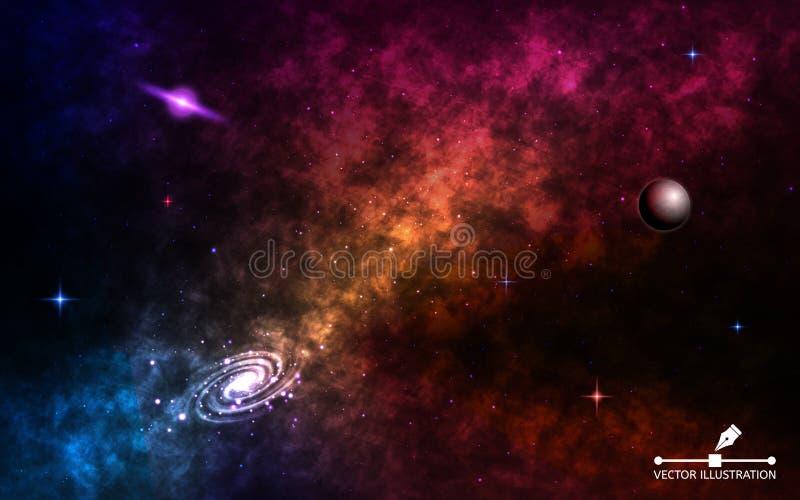 Raumhintergrund realistisch Kosmos mit stardust und glänzenden Sternen Spiralarm mit Planeten, Milchstraße und bunt vektor abbildung