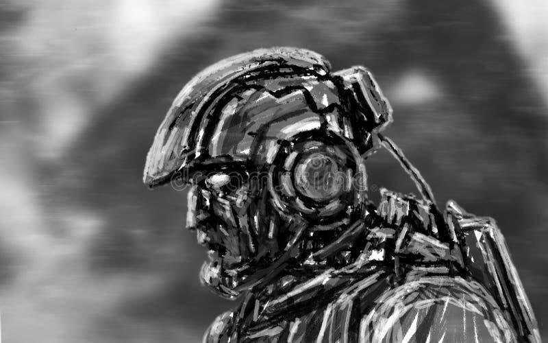 Rauminfanterie geht mit einem schweren Gewehr Weicher Fokus vektor abbildung