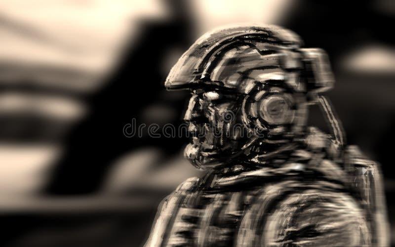 Rauminfanterie geht mit einem schweren Gewehr Weicher Fokus lizenzfreie abbildung