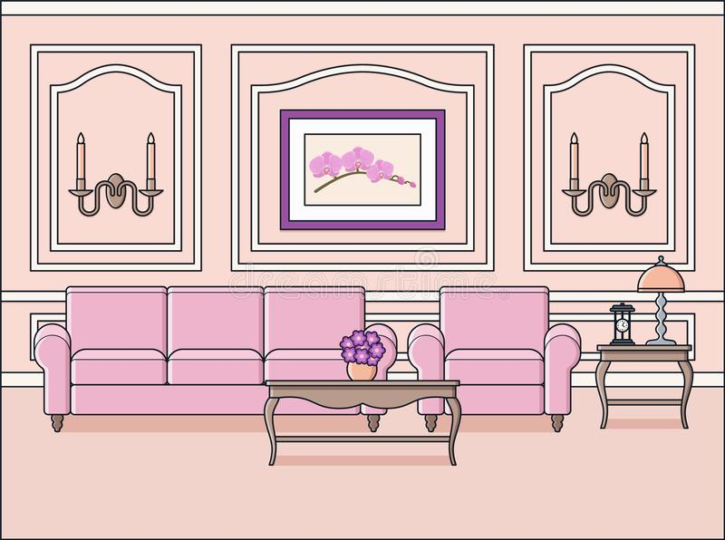 Rauminnenraum in der klassischen Art Flaches Design Auch im corel abgehobenen Betrag vektor abbildung