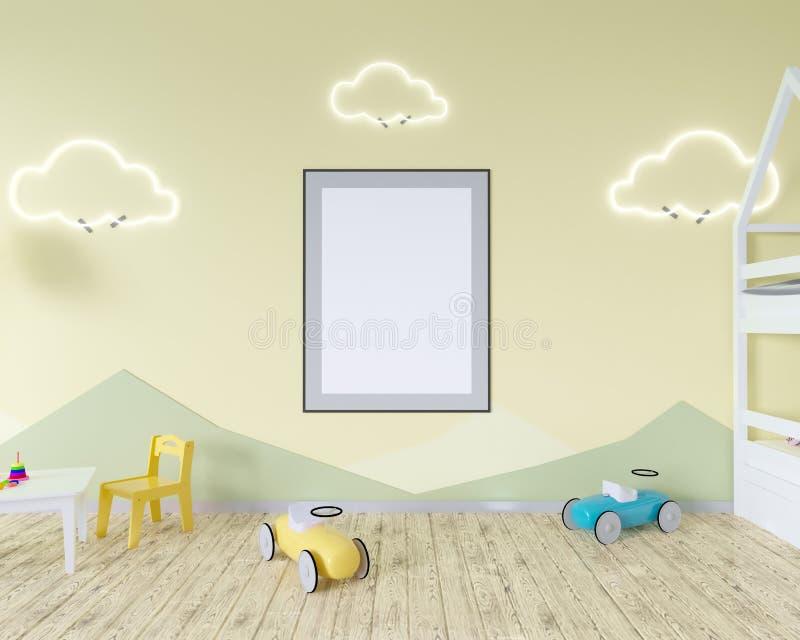 Rauminnenraum mit einer Krippe, bewölkt geformte Lampen und ein Spielzeug Blaue Wände Konzept des Minimalismus Wiedergabe 3d Spot vektor abbildung