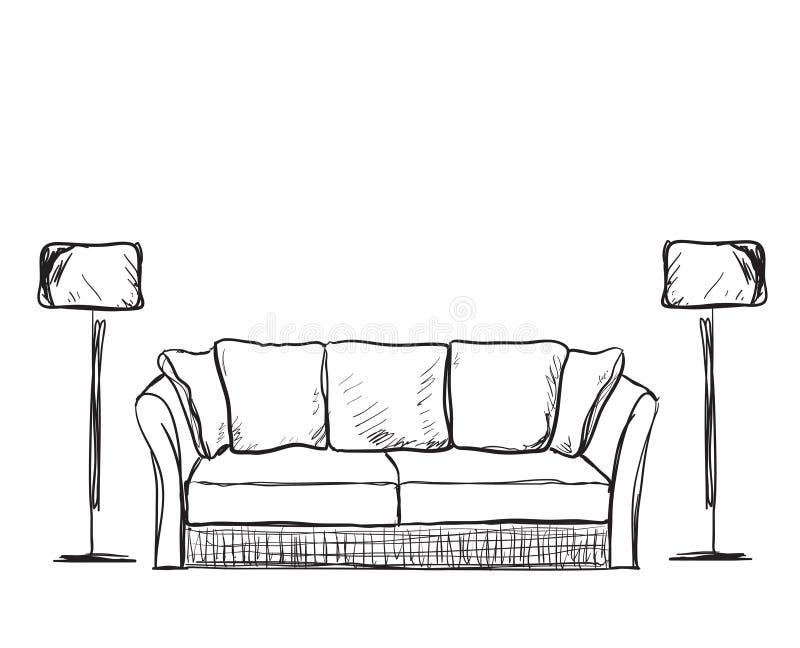 Sofa gezeichnet  Rauminnenraumskizze Hand Gezeichnetes Sofa Vektor Abbildung - Bild ...