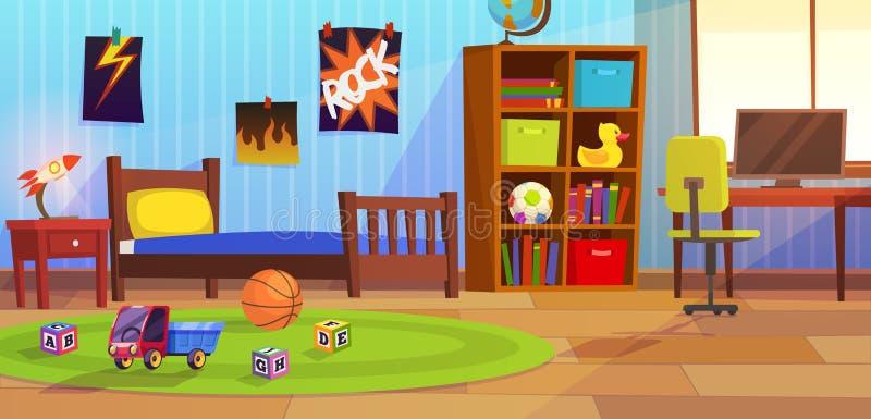 Raumjunge SCHLAFZIMMERkinderkinderjungenjugendlich-Wohnungsbett der Kinder spielt Innenspielzimmerausgangsmöbelhintergrund lizenzfreie abbildung