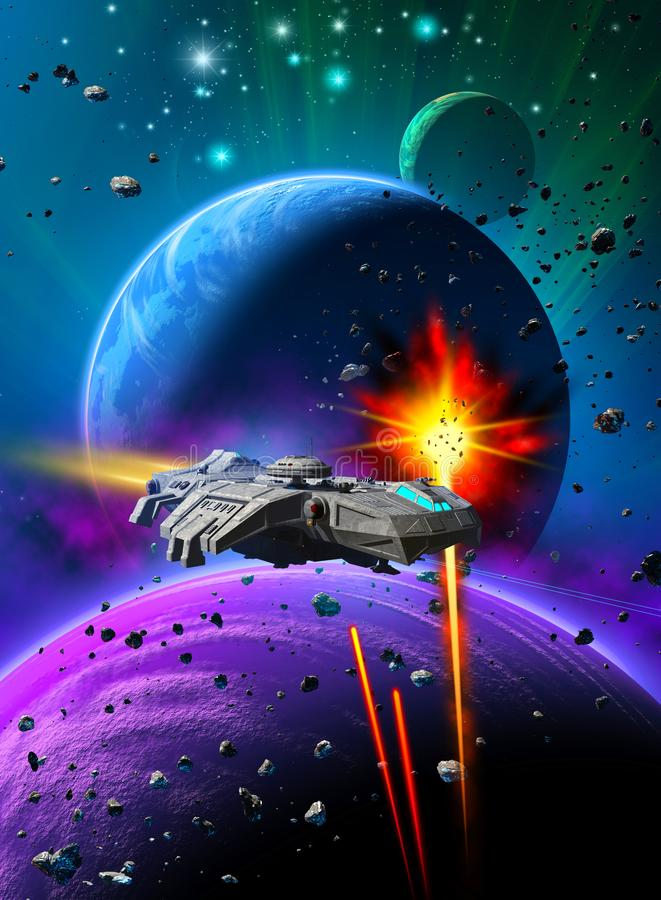 Raumkampf nahe einem ausländischen Planeten mit zwei Monden, den gleichen Raketen gegen ein Raumschiff, Himmel mit Nebelfleck und lizenzfreie abbildung