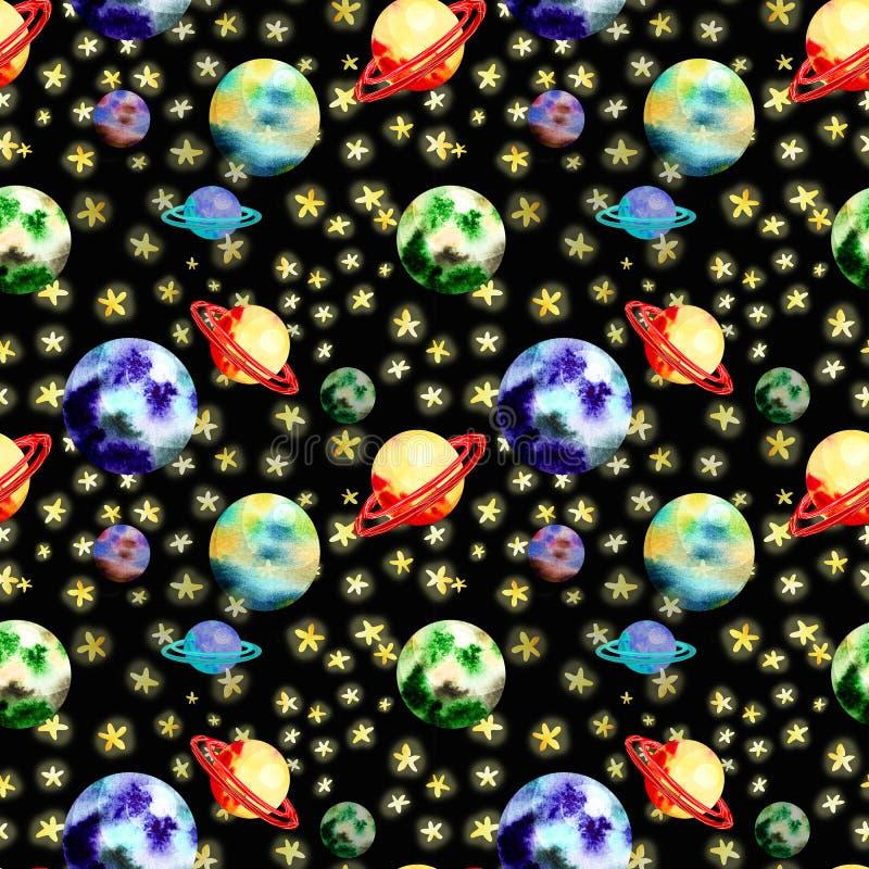 Raummuster mit Planeten lizenzfreie abbildung