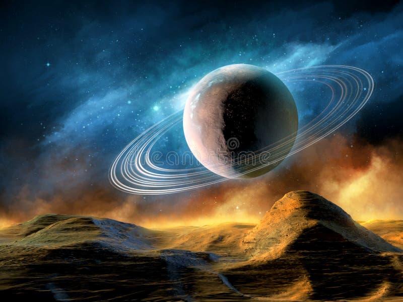Raumpanorama mit beringtem Planeten lizenzfreie abbildung