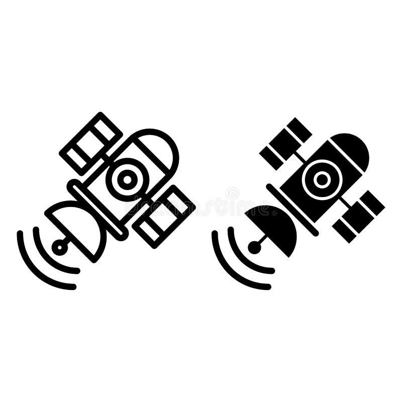 Raumsatellitenlinie und Glyphikone Sputnikvektorillustration lokalisiert auf Weiß Telekommunikationsentwurfsart lizenzfreie abbildung