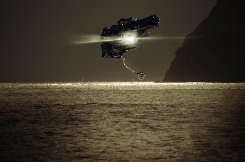 Raumschiff über Meer lizenzfreie abbildung