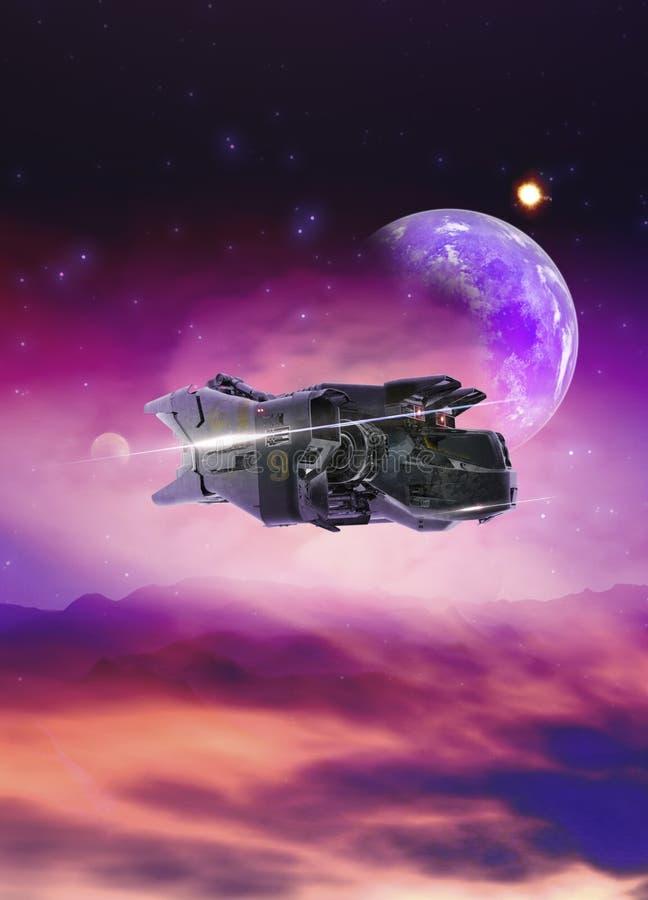 Raumschiff über Planeten stock abbildung