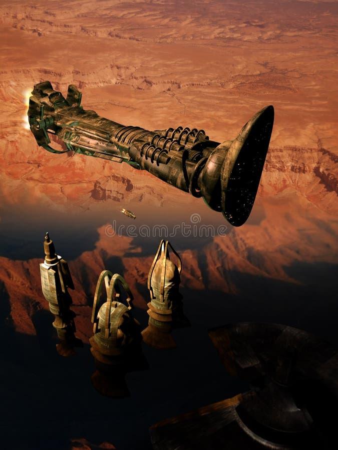 Raumschiff über rotem Planeten lizenzfreie abbildung