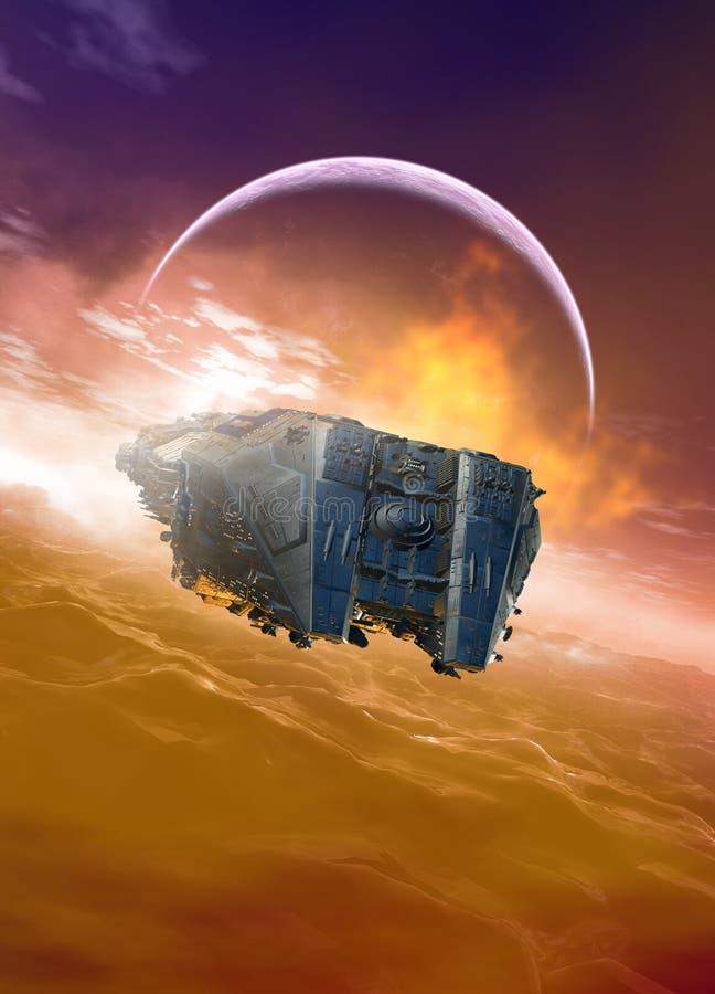 Raumschiff über Wasser vektor abbildung