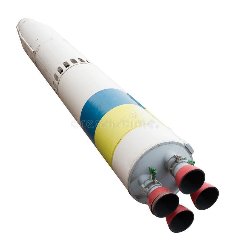 Raumschiff mit vier Düsen lokalisiert auf einem weißen Hintergrund lizenzfreie stockfotografie