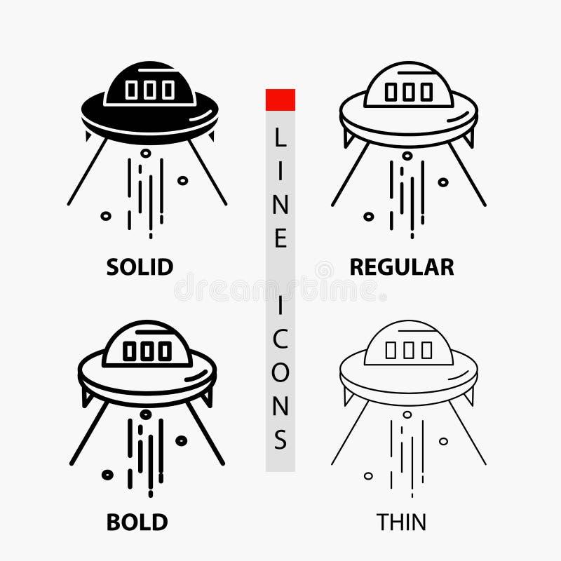 Raumschiff, Raum, Schiff, Rakete, ausländische Ikone in der dünnen, regelmäßigen, mutigen Linie und in der Glyph-Art Auch im core lizenzfreie abbildung