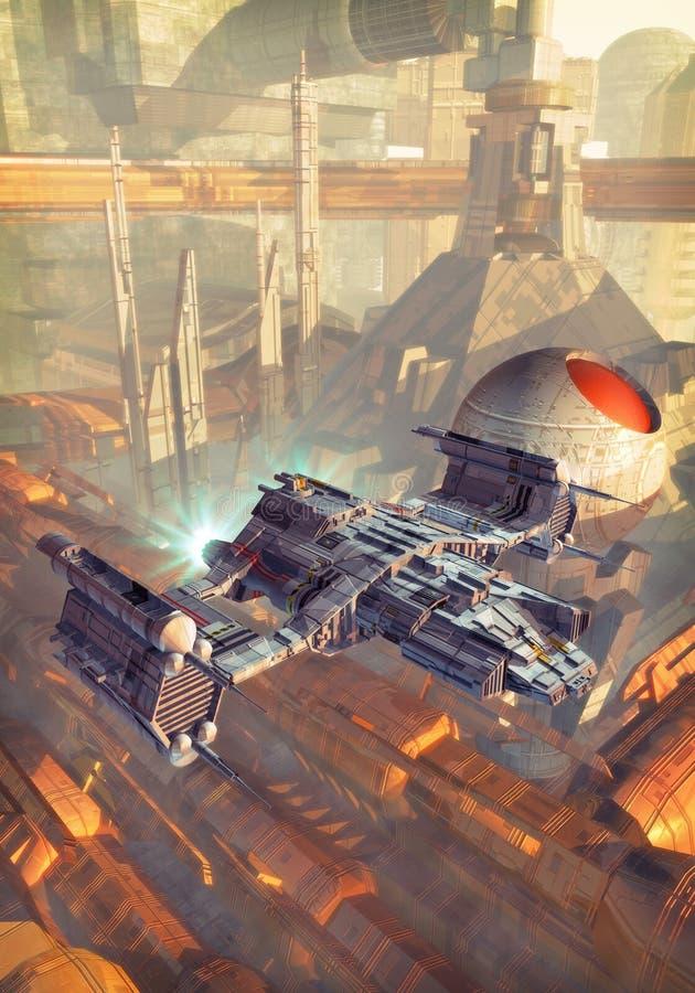 Raumschiff und futuristische Stadt lizenzfreie abbildung