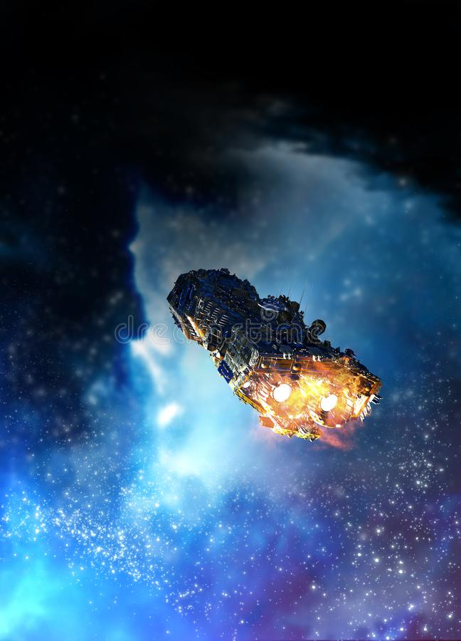 Raumschiff und Nebelfleck stock abbildung