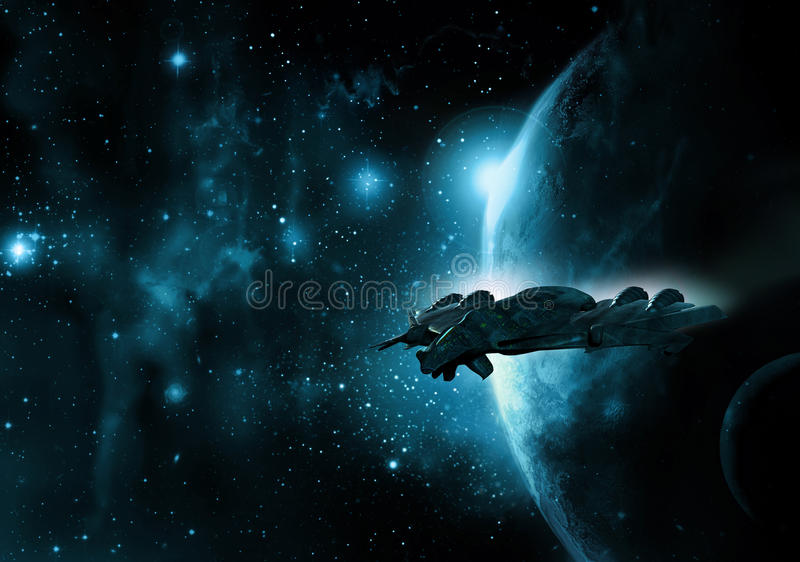 Raumschiff und Planet stock abbildung