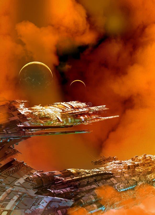 Raumschiff und Planeten lizenzfreie abbildung