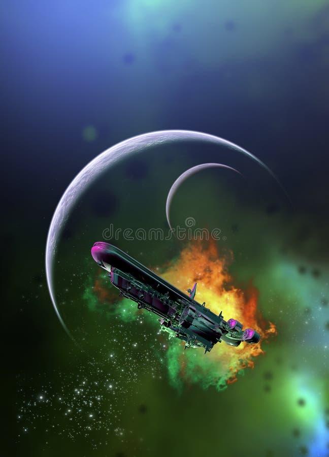 Raumschiff und Planeten vektor abbildung
