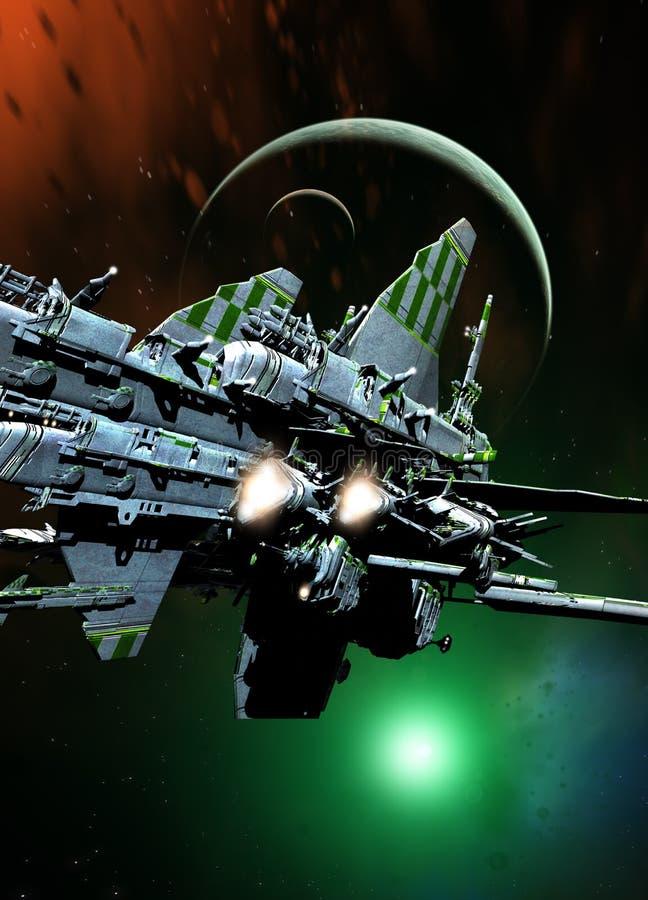 Raumschiff und Planeten stock abbildung