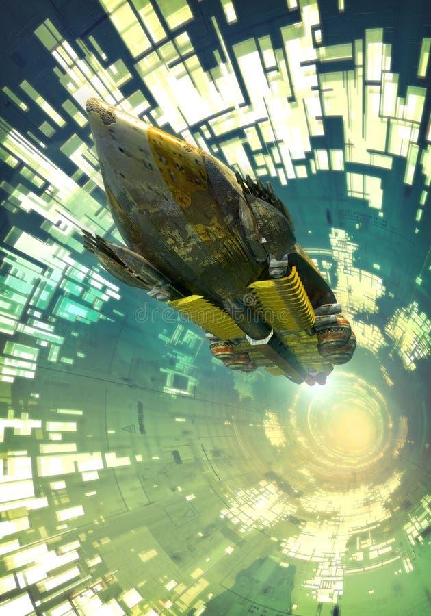 Raumschiff und Tunnel lizenzfreie abbildung