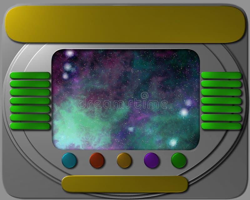 Raumschiffbedienfeld mit Ansicht lizenzfreie abbildung