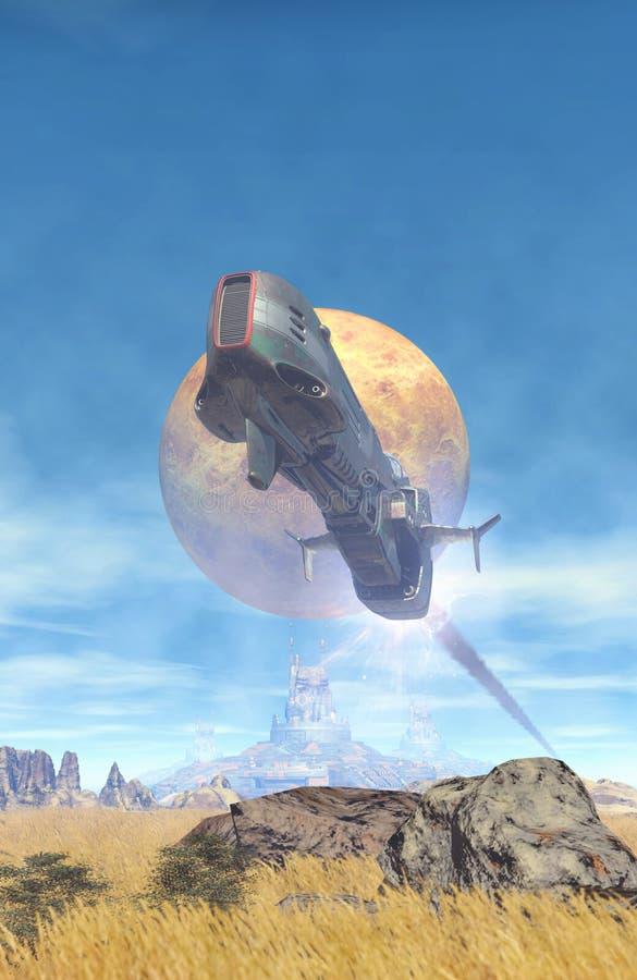 Raumschiffflug über einem Planeten lizenzfreie abbildung