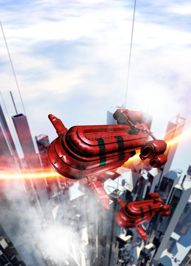 Raumschiffflugwesen über einer futuristischen Stadt lizenzfreie abbildung