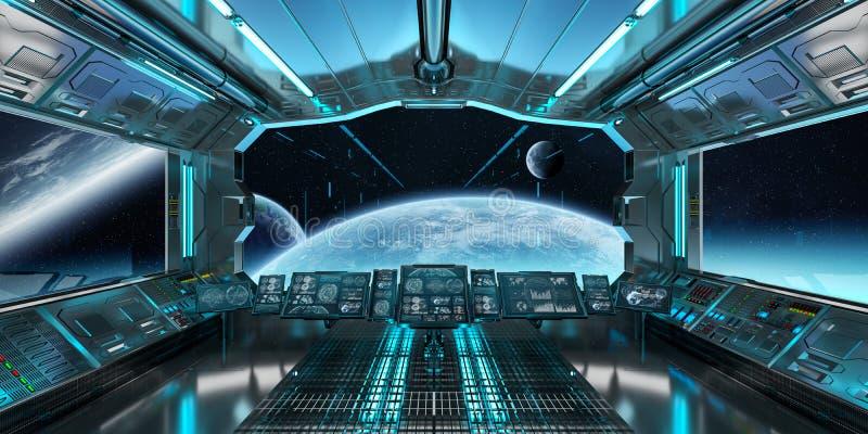 Raumschiffinnenraum mit Ansicht über entferntes Planetensystem 3D überträgt lizenzfreie abbildung
