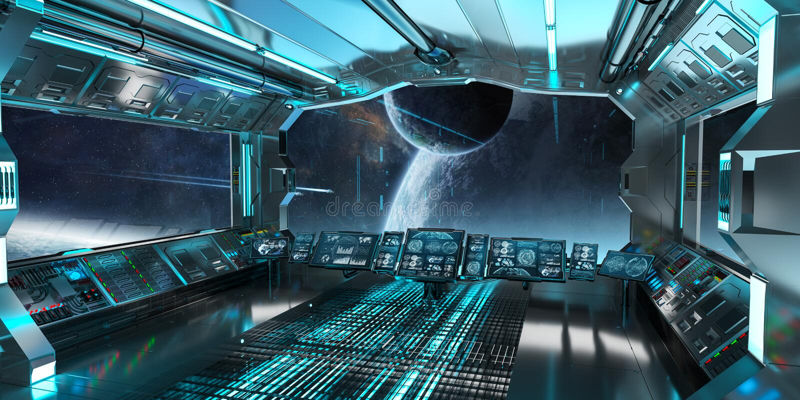 Raumschiffinnenraum mit Ansicht über entferntes Planetensystem 3D überträgt stock abbildung