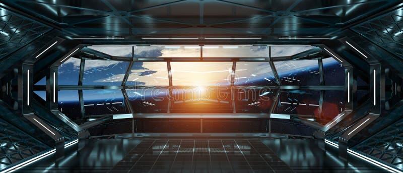 Raumschiffinnenraum mit Ansicht über Wiedergabeelemente der Erde 3D von t stock abbildung