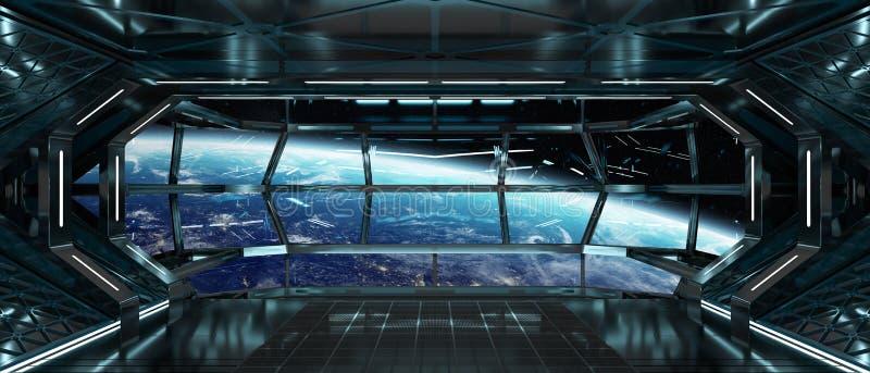 Raumschiffinnenraum mit Ansicht über Wiedergabeelemente der Erde 3D von t lizenzfreie abbildung
