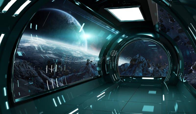 Raumschiffinnenraum mit Ansicht über Wiedergabeelemente der Planeten 3D von stock abbildung