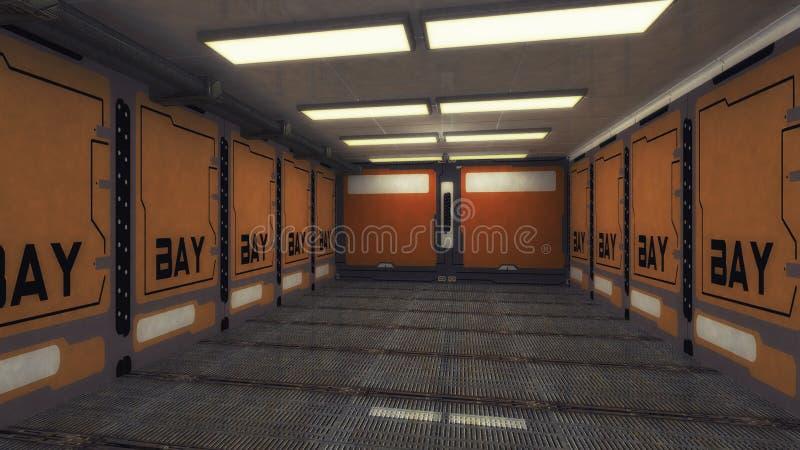 Raumschiffinnenraumkorridor stockbilder