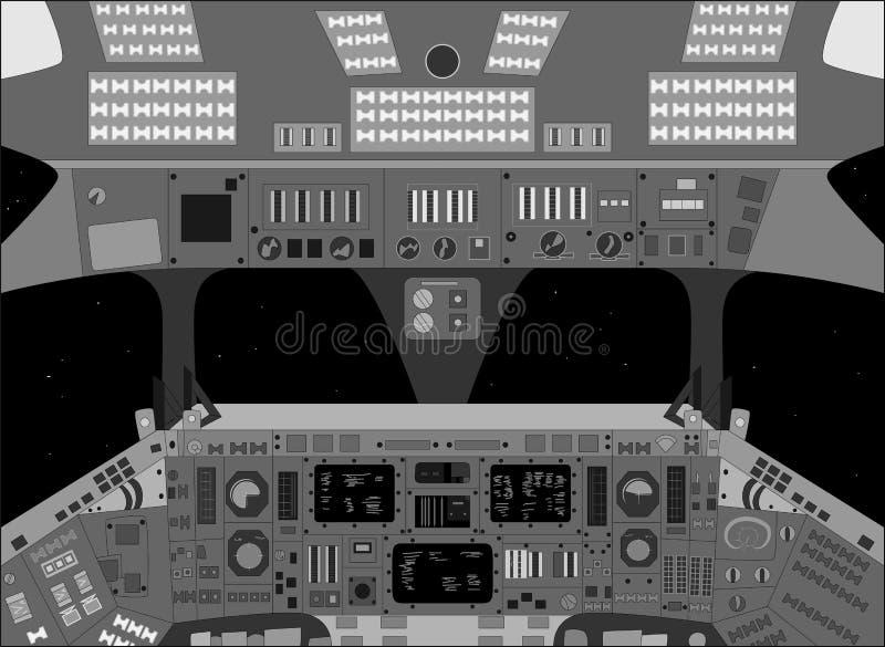 Raumschiffkabine von innen, Schwarzweiss-Vektorillustration vektor abbildung