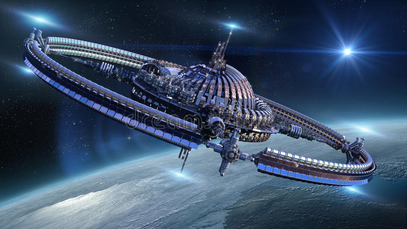 Raumschiffrad nahe Erde lizenzfreie abbildung