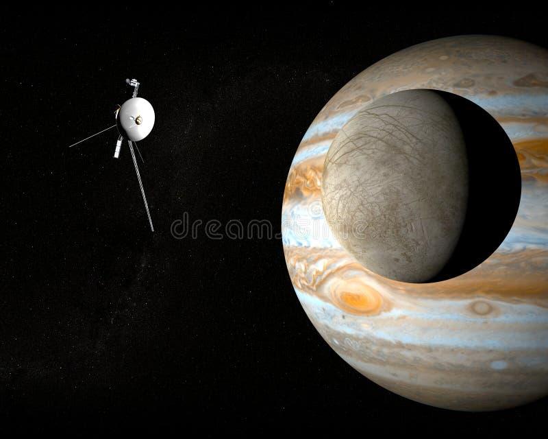 Raumsonde-Reisende und Jupitermond Europa lizenzfreie abbildung