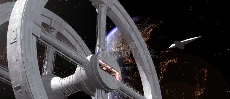 Raumstation und Doppelventilkegel vektor abbildung