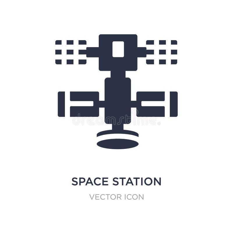 Raumstationsikone auf weißem Hintergrund Einfache Elementillustration vom Astronomiekonzept vektor abbildung