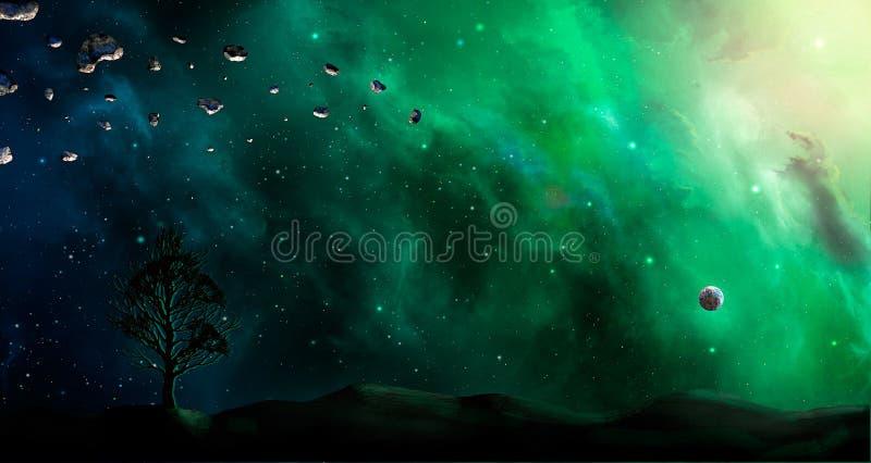 Raumszene Grüner und blauer Nebelfleck mit Landschattenbild und -baum stock abbildung