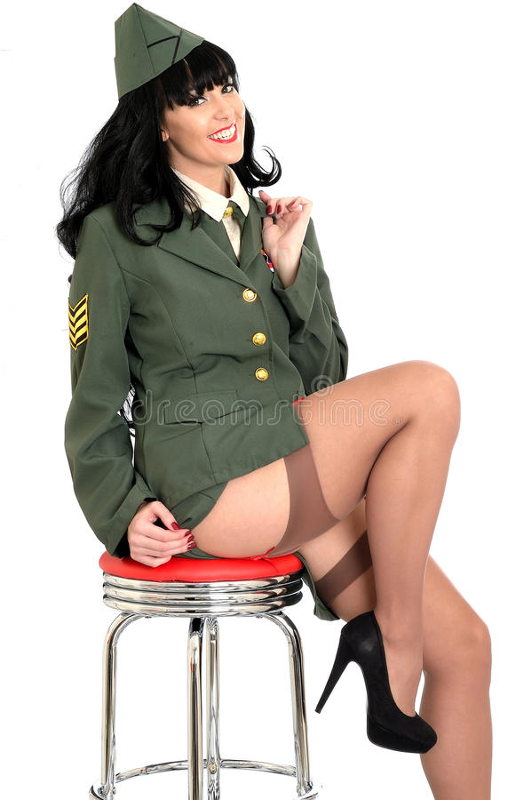 Raunchy Flirtatious Young Vintage Pin Up Model In Military -4406