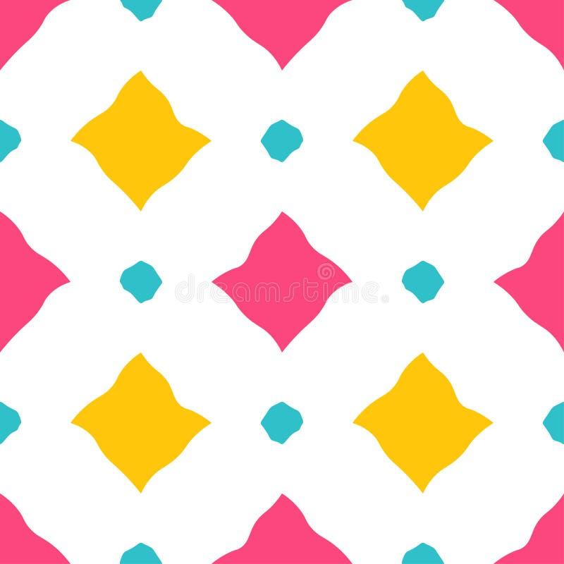 Rauten kopieren nahtlose Vektorillustration von einfachen gelben, rosa und blauen Diamanten mit gewellten Konturen auf weißem Hin lizenzfreie abbildung