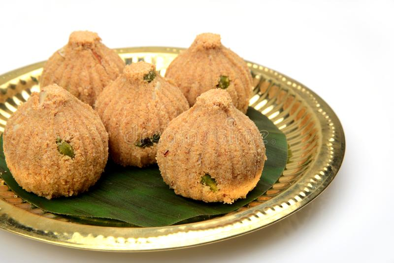 Rava and dry fruits Modak , a Maharashtrian traditional sweet stock images